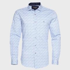 Camisa Estampada Spandex Cuello  Semi Italiano Ultra Slim